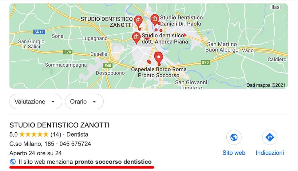 """Esempio di risposta della Local Search alla richiesta precisa di un servizio. in questo caso """"pronto soccorso dentistico"""""""